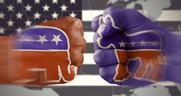 Two party politics fists democrats and republicans