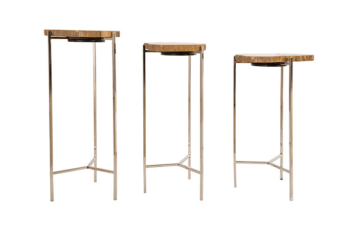 Petrified Wood Side Table / Off White, SM