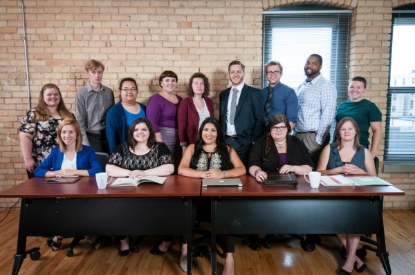 Bottom (left to right) Nadya Bucklin (Friendship Academy); Erin Skulski (Office to End Homelessness); Carla Esquibel (Prodeo Academy); Rauel Arismendez (Project for Pride in Living); Krystal Garvais (Teen Hope/MVNA); Top (right to left) Jay Klyman (Jay and Rose Phillips); Jay Rathell (Hiawatha Academies); Ben Suker (Pohlad Family Foundation); Jon Bellefeuille (Greater Twin Cities United Way); Jessie Miller (KIPP Through College); Hannah Bech (Venture Academies); Mychie Yang (Youthlink); Hart Hornor (Eastside Financial Center, LLS) and Sarah Reiter (180 Degrees).