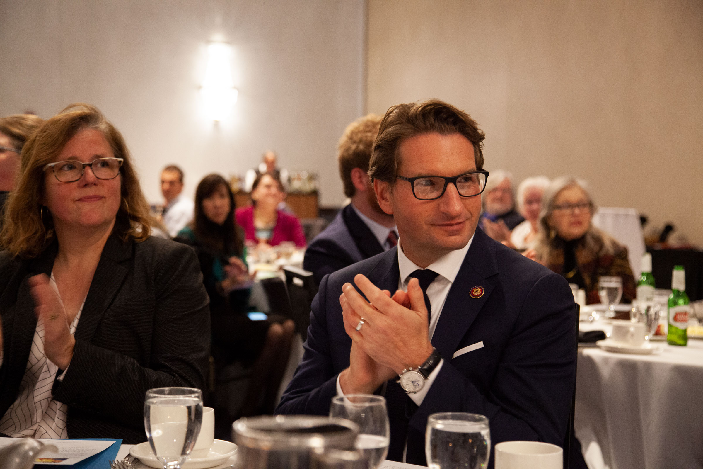 Dean Phillips and Sarah Morrow attend a campaign dinner.