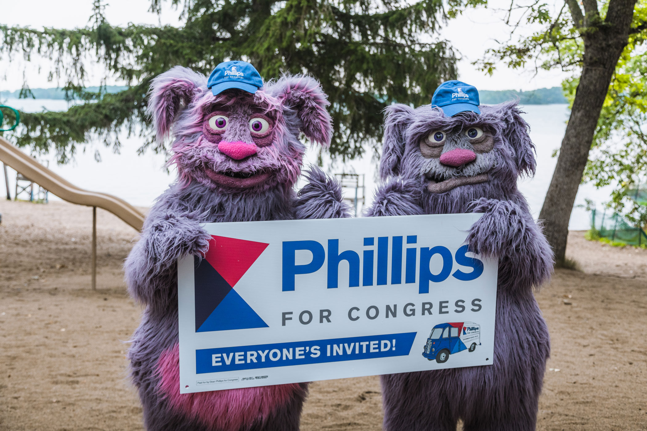 optimism and fear with phillips for congress yard sign