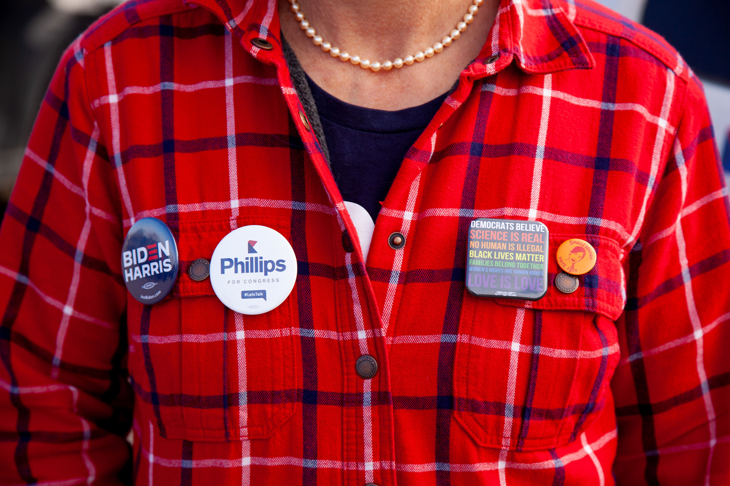 Phillips and Biden-Harris campaign buttons