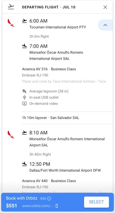 Avianca Airlines From Panama City to Dallas