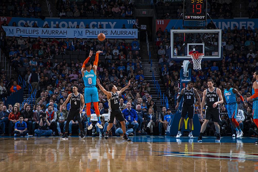 OKC Thunder Westbrook shoots against Spurs
