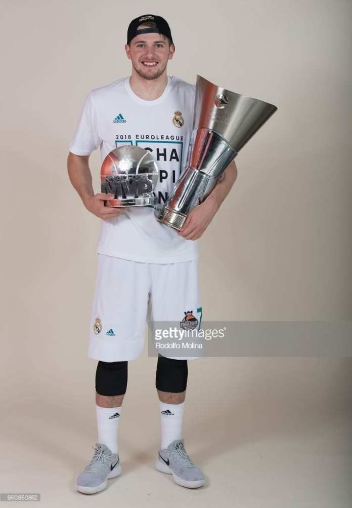 Luka Doncic with the Euro League championship trophy and MVP, these are part of his draft profile in accomplishments