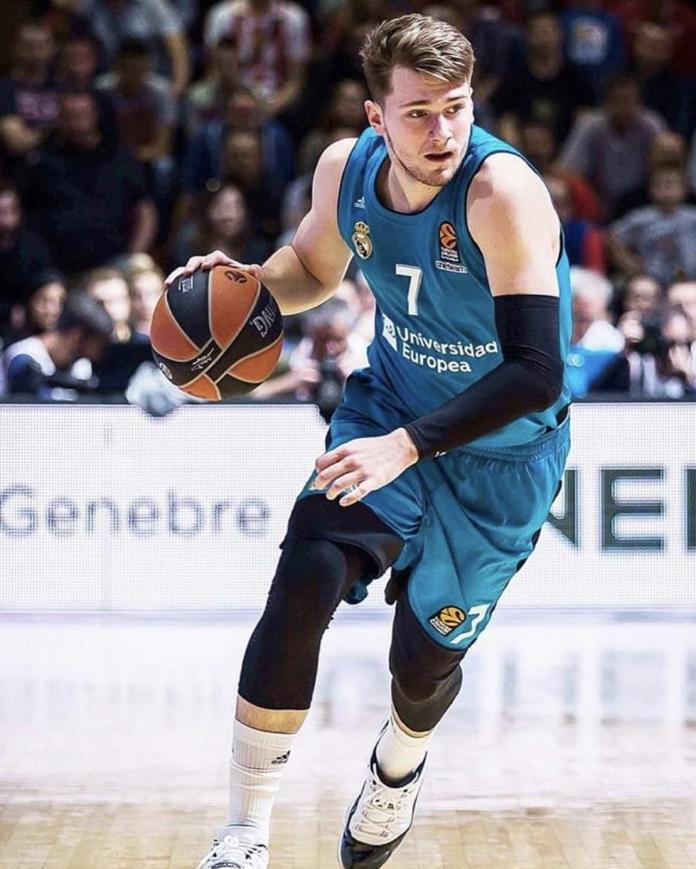 Luka Doncic showing skillset for scouts of the NBA while playing for Real Madrid of EuroLeague