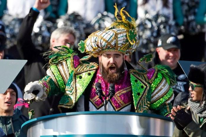 Jason Kelce at the Eagles superbowl parade