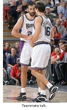 Vlade Divac and Peja Stojakovich playing with the Kings. Both were from Serbia as Nikola Jokic is today.