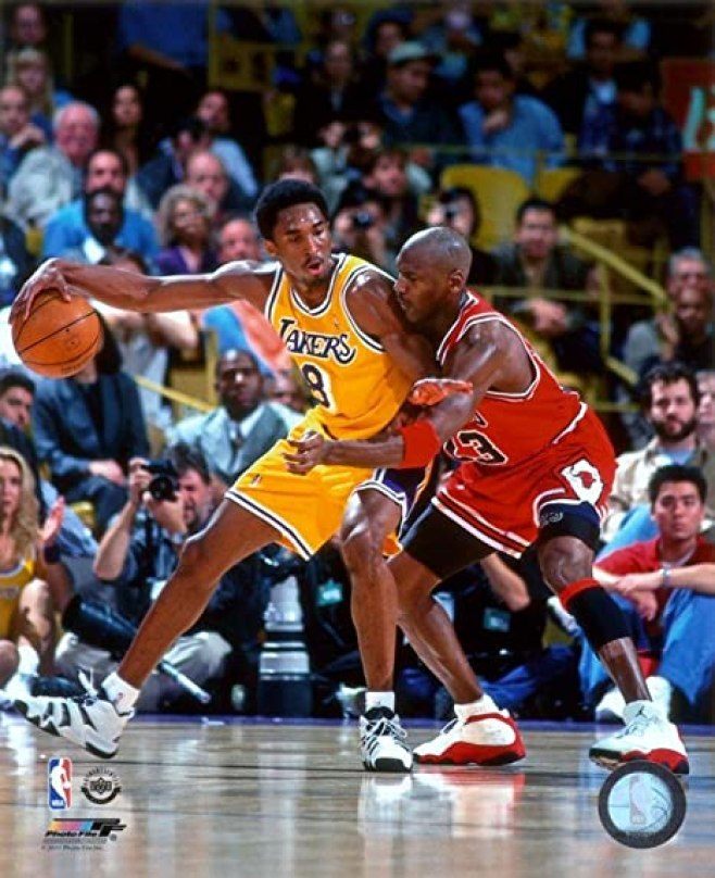 Kobe like Mike, as he backs his airness into the paint