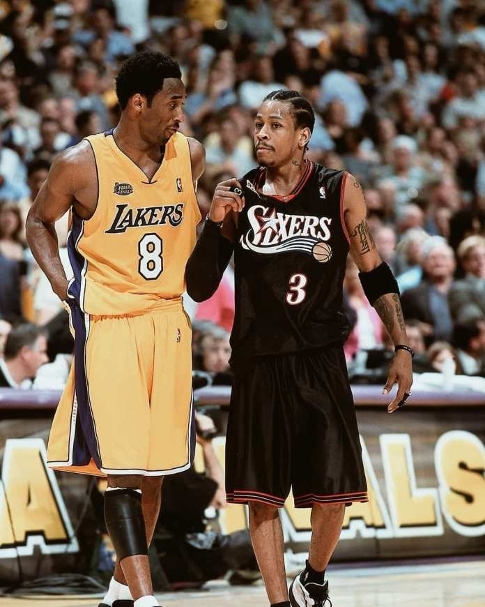 Allen Iverson & Kobe Bryant at the 2001 Finals. The Lakers & Sixers have battled for supremacy throughout the history of the NBA.