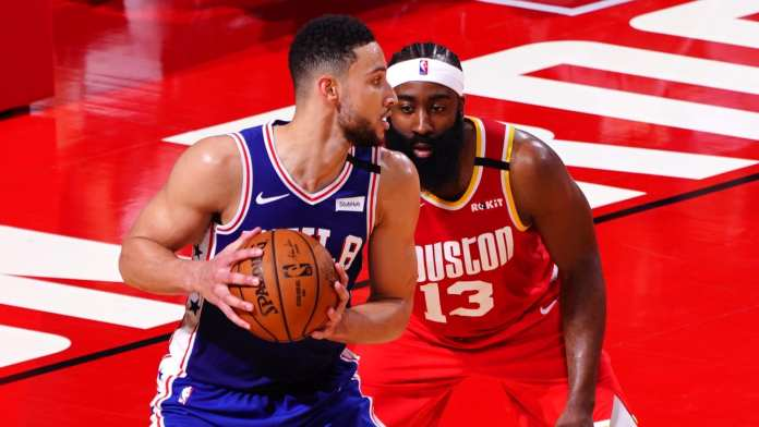 Ben Simmons posting up James Harden, he will be the Sixers power forward in the Bubble.