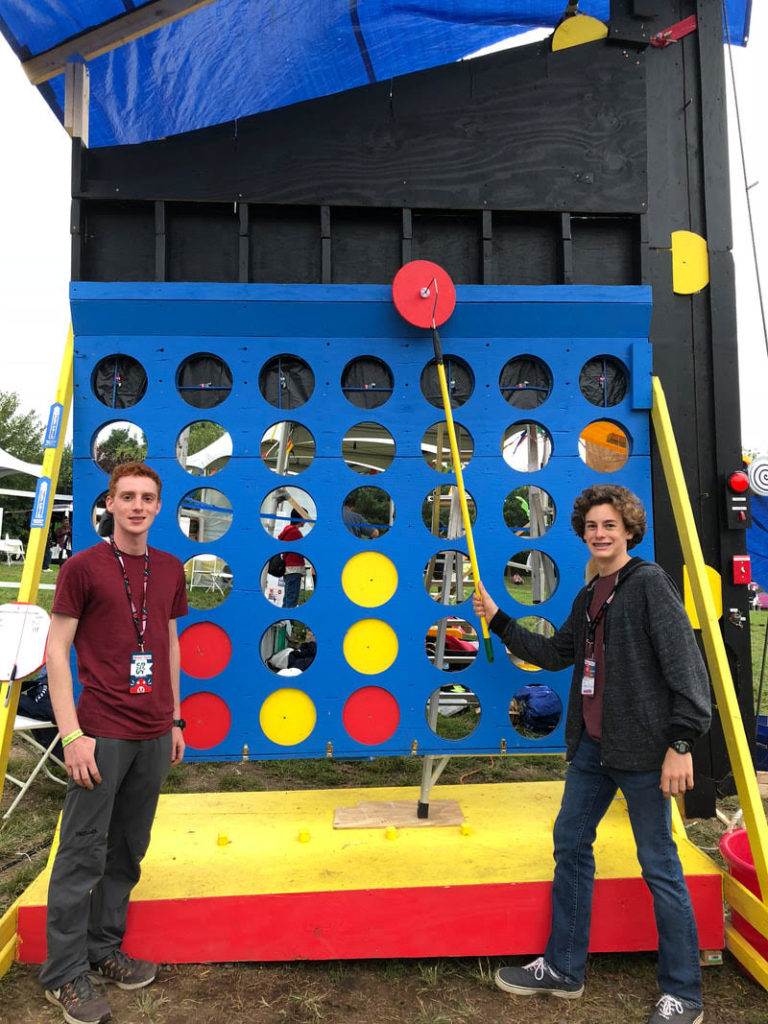 Ben and Jonothan of SPOTechnology with their giant version of a Connect Four game