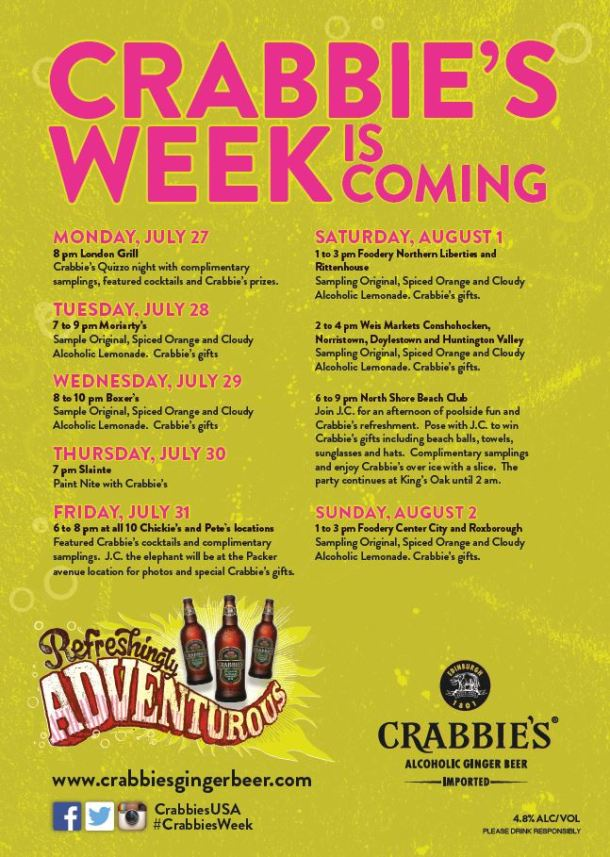 Crabbies Week Philly 2015 Schedule o fEvents