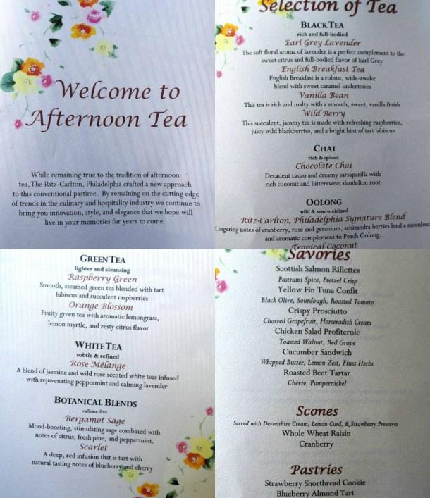 Ritz Carlton Philadelphia Afternoon Tea Menu