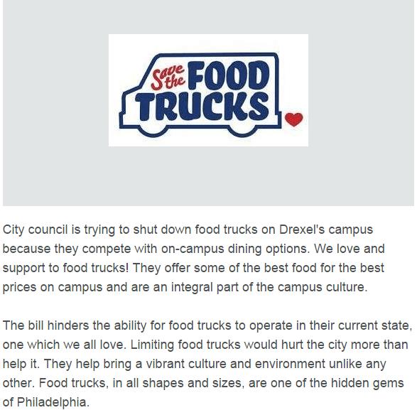 Drexel Food Trucks Petition