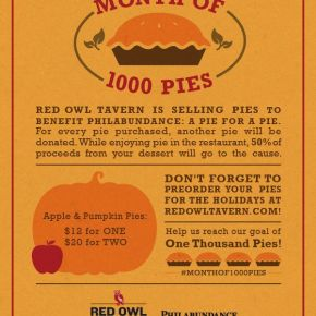 Red Owl Tavern Launches Month of 1000 Pies in November for Philabundance