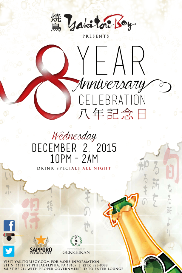 Yakitori Boy 8 Year Anniversary Celebration