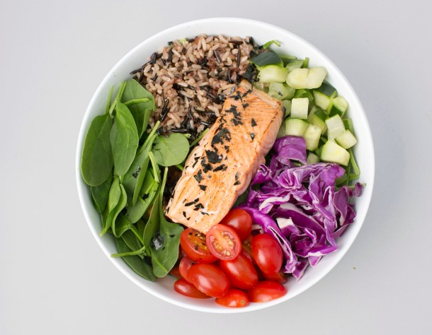 Bento Bowl with Steelhead fish at sweetgreen