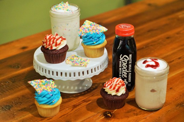 Punk Burger Birthday Shake and Cupcakes