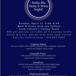 Stella Blu To Host Exclusive Pasta & Wine Event on Sunday April 17