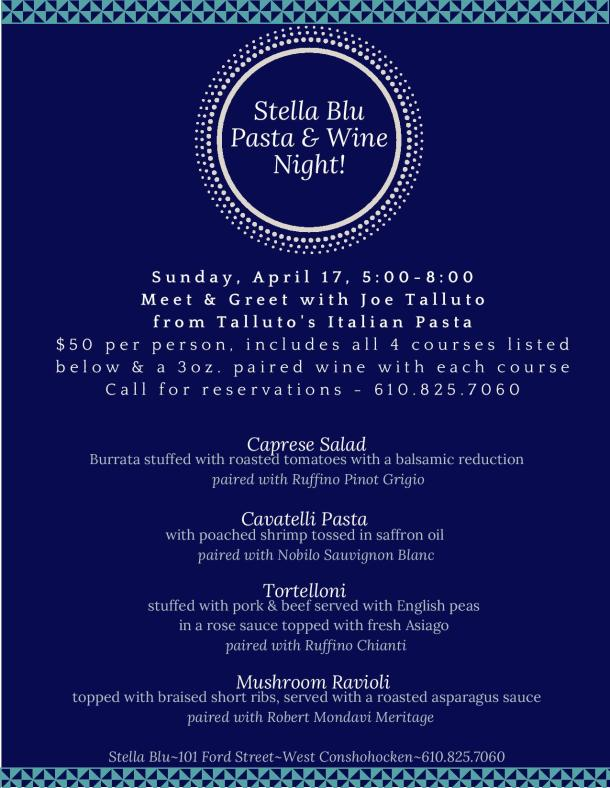 Stella Blu Pasta and Wine Event