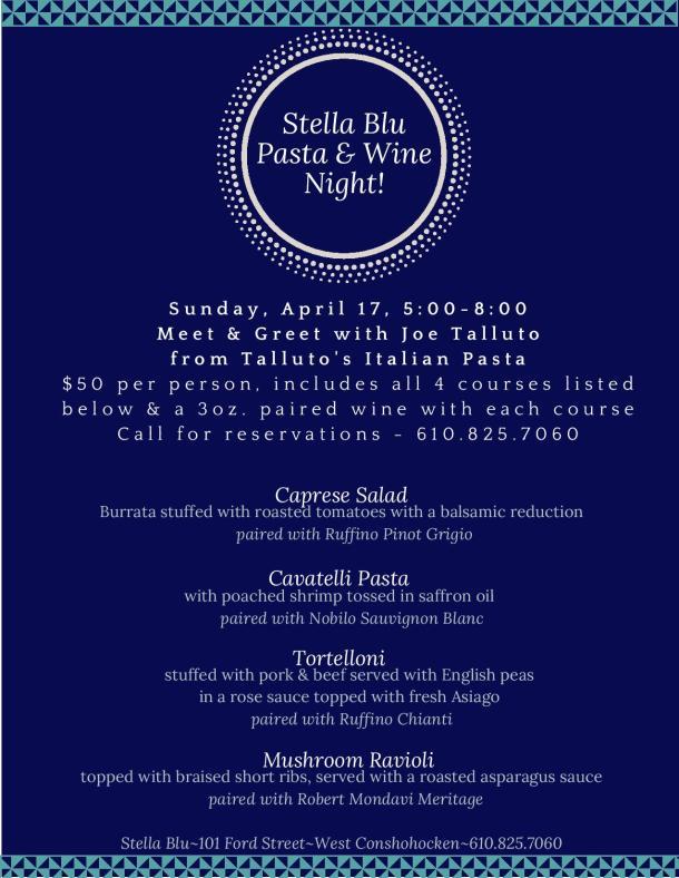 Stella Blu Pasta and Wine Event