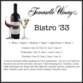 Pop Up Restaurant at Tomasello Winery To Debut May 24