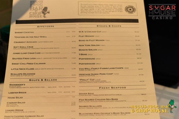 Hugo's Frog Bar & Chop House SugarHouse Casino Menu