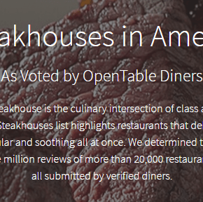 Philadelphia Steakhouses Featured on Open Table's 100 Best Steakhouses in America List