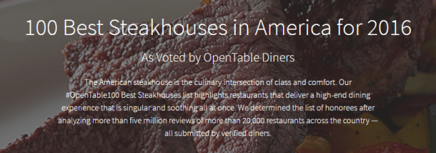 100 Best Steakhouses in America by Open Table