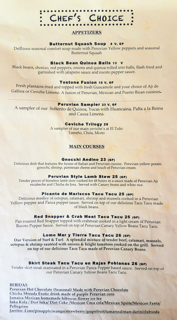Chef's Choice Menu at Quinoa Peruvian Mexican Restaurant in Doylestown, PA