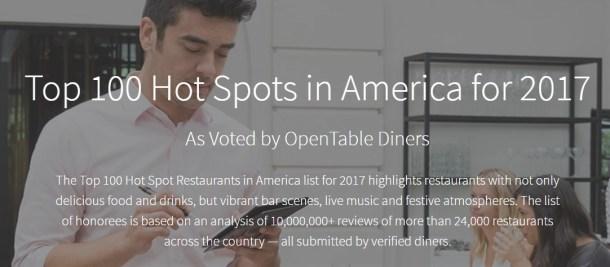 OpenTable Hot Spots 2017
