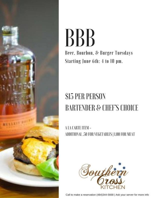 Beer Bourbon Burger at Southern Cross Kitchen Conshohocken