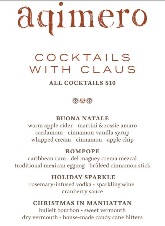 Holiday Cocktails at Aqimero