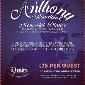 Denim American Bistro to Honor Anthony Bourdain During Special Tasting Dinner