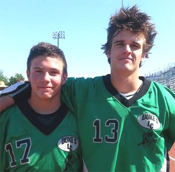 Dukes Dylan Tocco (left), Jake Martellucci