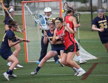 Agnes Irwin defenders (left to right) Alicia O'Neil, Sarah Platt, Kate White, Emily Fryer and goalie Hailey Andress cause one of their five turn overs against Vero Beach.  Agnes Irwin defeated national powerhouse Vero Beach 8-7 in Florida on Thursday.