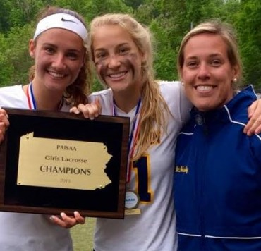 Agnes Irwin's Hannah Keating (middle), the 2015 Phillylacrosse.com Co-Player of the Year