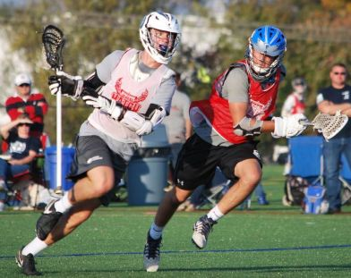 All-Match ATT Jack Thomas (2018, Strath Haven HS,/Providence Road LC) drives to the goal against All-Match MF Eric Fioccola (2018, Fair Lawn HS (NJ)/Brotherhood LC)