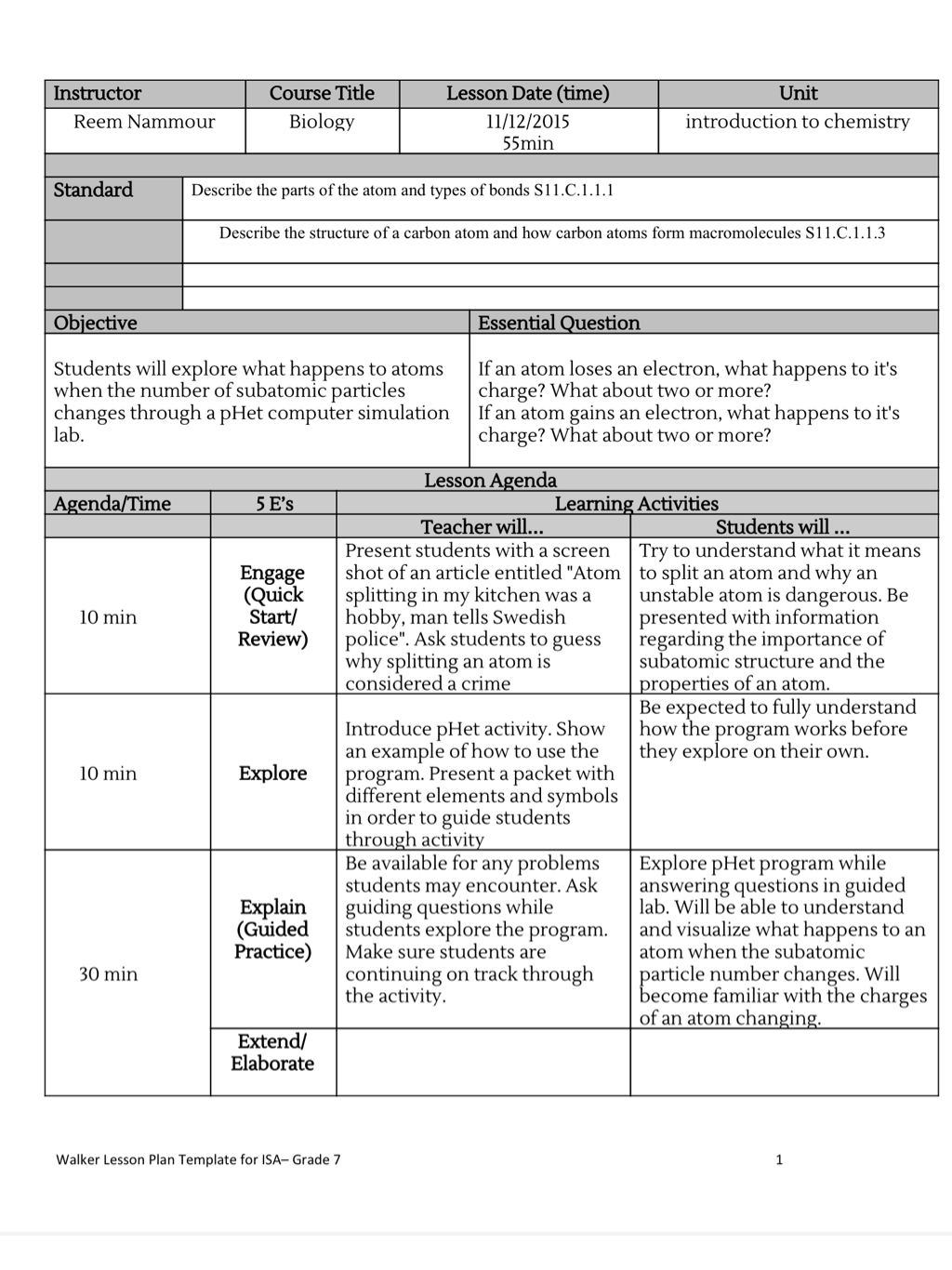 Annotated Lesson Plan And Reflection