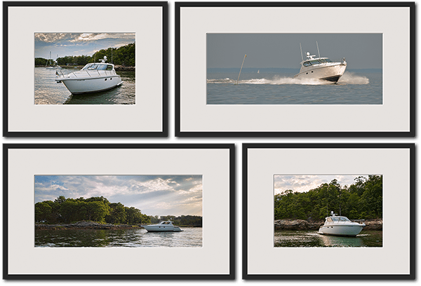 four framed prints of motor boat