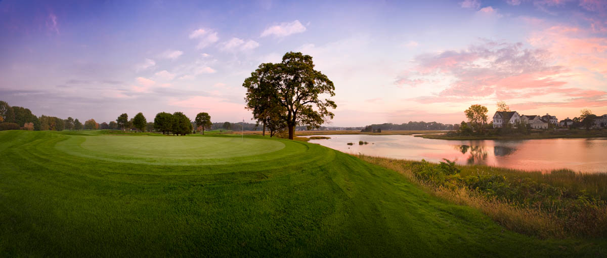 image of sunrise over a golf course