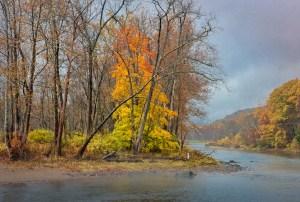 fall color along the housatonic near kent, ct