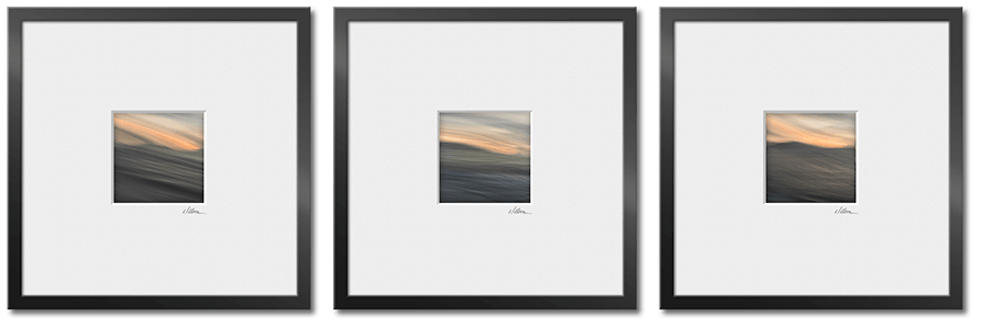 three square framed and matted abstract images