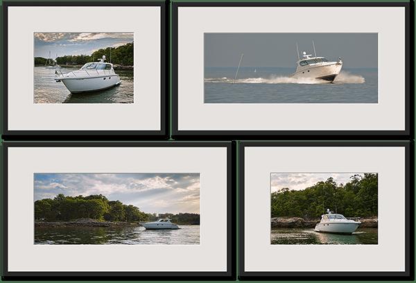 four framed prints of motor boat
