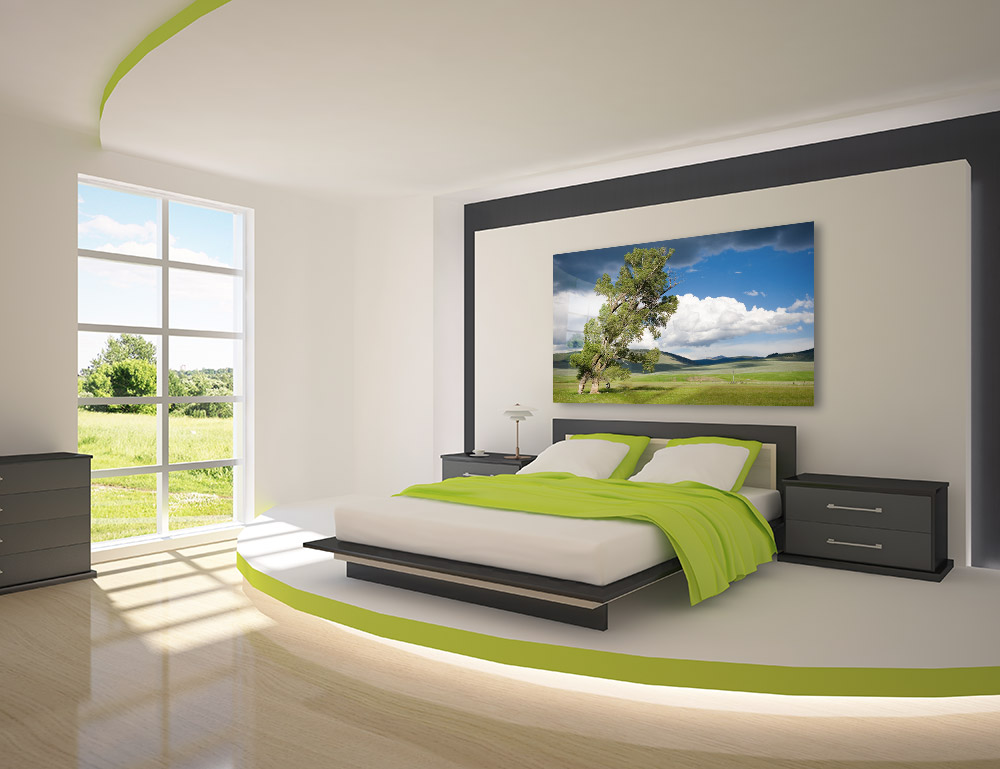 large acrylic face-mounted print over bed in bedroom