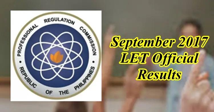 Full results september 2017 let teachers board exam elementary september 2017 let fandeluxe Images