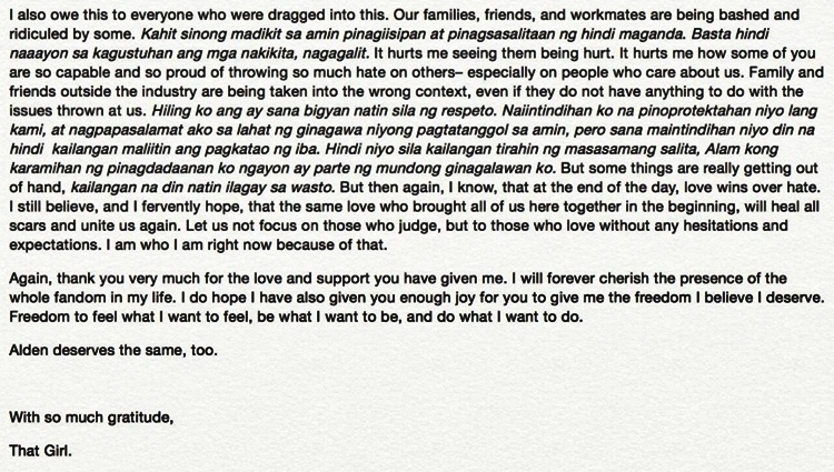 Maine Mendoza Sends An OPEN LETTER To Her Fans
