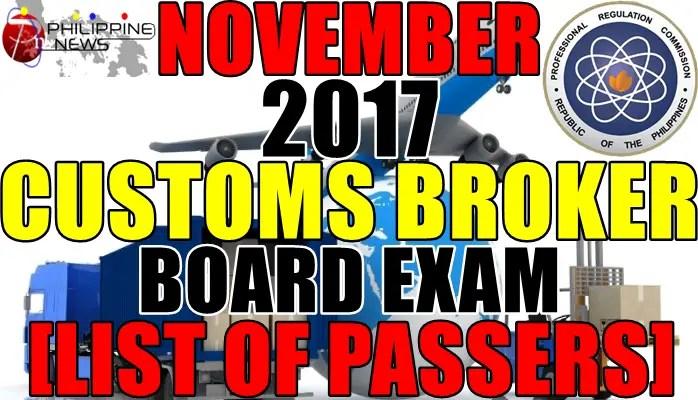 List of Passers: November 2017 Customs Broker Board Exam