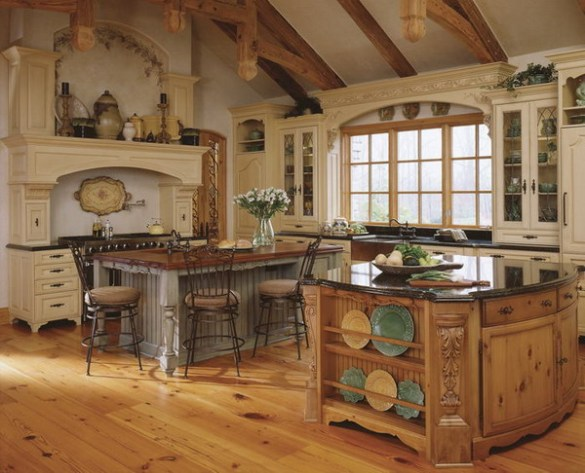 lovable-country-kitchen-design-with-most-wooden-furniture-as-worktop-cupboards-shelves-softwooden-floor-and-bay-windows